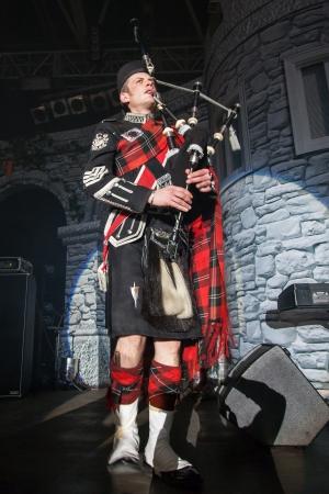 KIEV,UKRAINE, March 9: Burns Night, a charity event dedicated to the Scottish poet Robert Burns in Kiev, Ukraine, March 9, 2013. Pipe Major Roderick Deans - Scottish Bagpiper