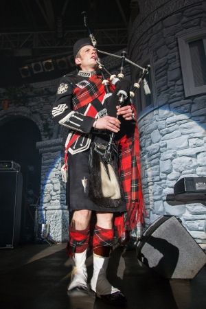 KIEV,UKRAINE, March 9: Burns Night, a charity event dedicated to the Scottish poet Robert Burns in Kiev, Ukraine, March 9, 2013. Pipe Major Roderick Deans - Scottish Bagpiper