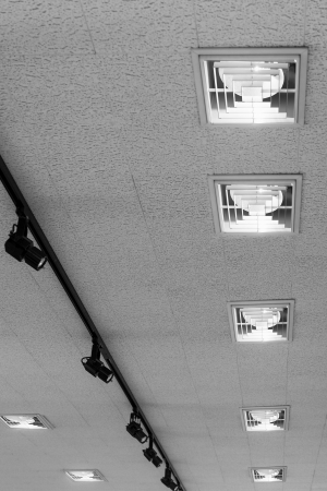 The two rows of modern ceiling luminaires photo