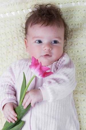 Portrait of girl infants with tulip flower photo