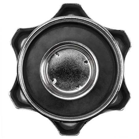 rubber gasket: Metallic cover with rubber gasket for the tank with fuel, isolated on white