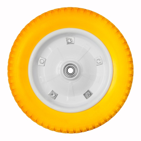 polyurethane: Wheel with yellow polyurethane tire isolated on white