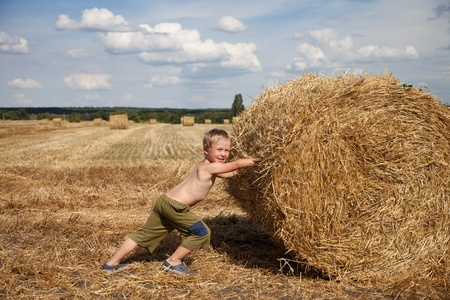 trundle: The boy rolls the bale of straw Stock Photo