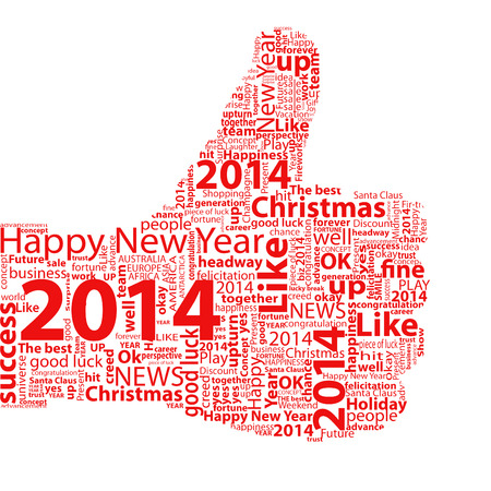 Thumbs up symbol 2014 year, which is composed of text  Isolated on white Standard-Bild