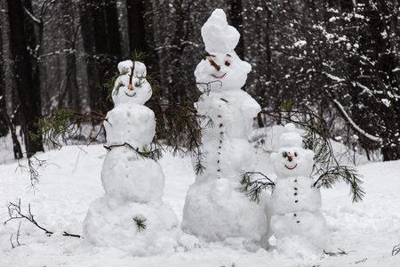 Family of snowmen in a pine forest photo