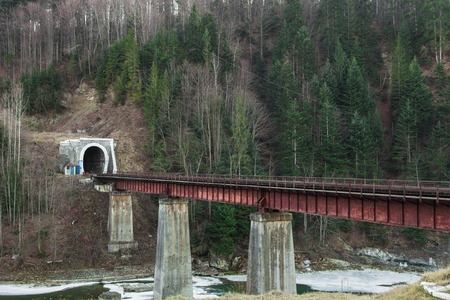 Old tunnel and railway bridge over the Prut river photo