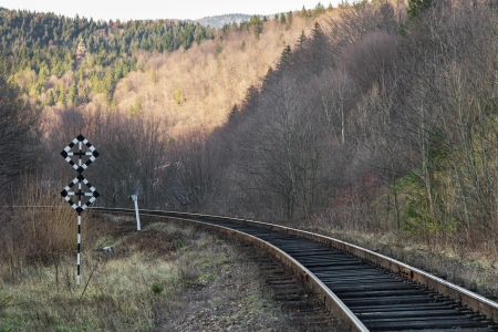 Turning the railway in a mountainous area photo