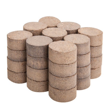 briquettes: Peat briquettes for growing seedlings isolated on white with clipping paths