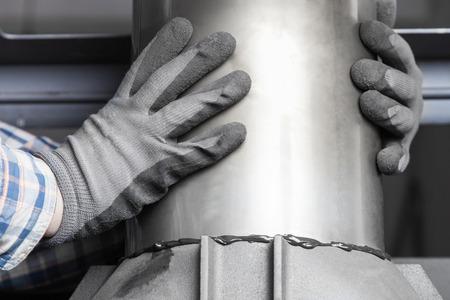 Chimney installation on modern cast iron fireplace