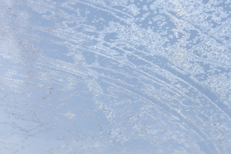 mornings: Window car covered with frost stranded on cold mornings Stock Photo