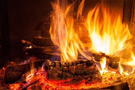Burning firewood in the fireplace close up photo