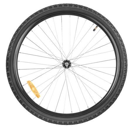 Front wheel of a mountain bike isolated on white background Foto de archivo