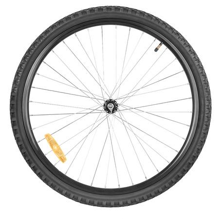 Front wheel of a mountain bike isolated on white background Stockfoto