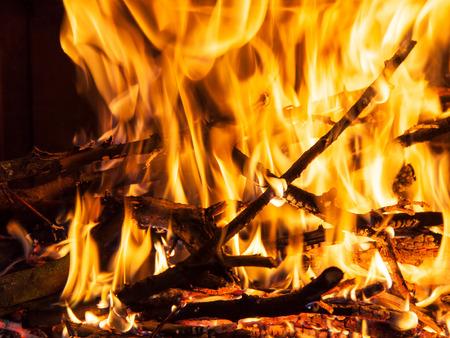smolder: Burning firewood in the fireplace closeup