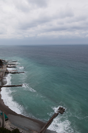 breakwaters: Seacoast with breakwaters in winter, view from a height of 300 meters