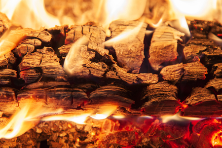 smolder: Burning piece of wood in a fireplace close-up Stock Photo