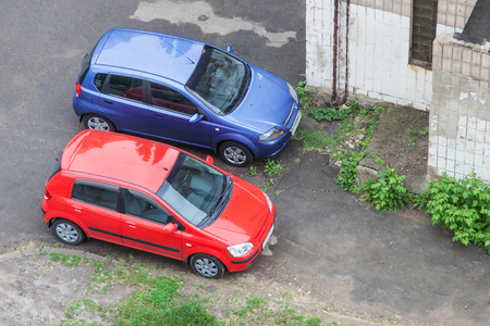 Love concept of pair cars standing next to each other Stock Photo