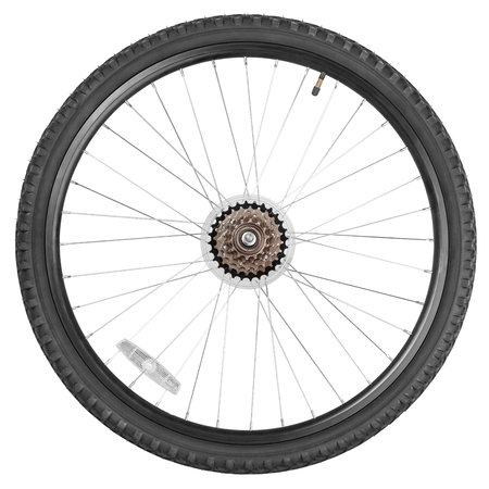 Rear wheel with gear train for mountain bike isolated on white background with clipping paths Foto de archivo