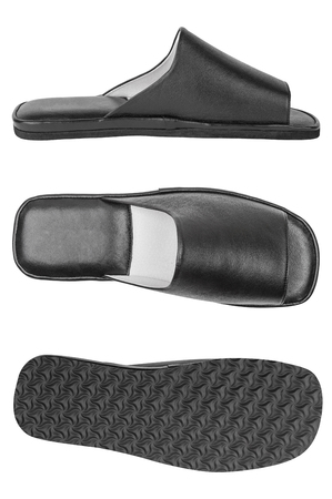 outsole: Three views of black genuine leather mens slippers isolated on white background: side, top and bottom shot Stock Photo
