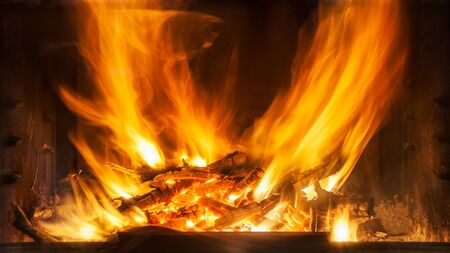 combustible: Burning firewood in the fireplace closeup