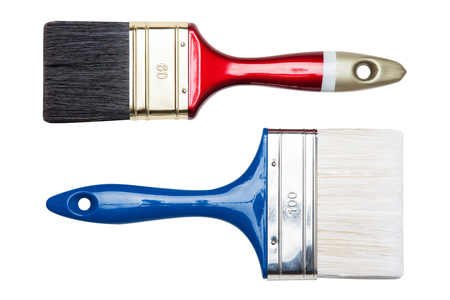 Two paint brushes isolated on a white background Standard-Bild