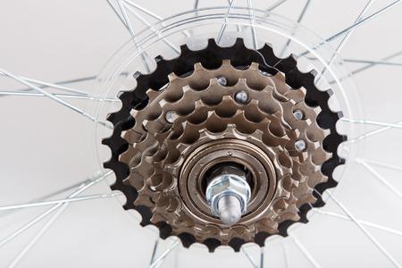 Bicycle gear train closeup on white background Standard-Bild