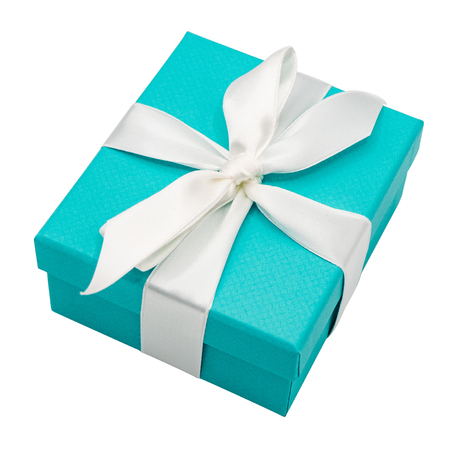 Gift box with white ribbon isolated on white background. Clipping path include