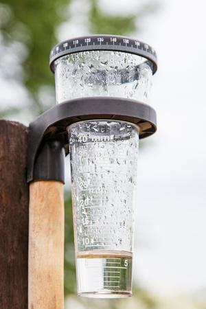 Meteorology with rain gauge in garden, measurement of precipitation Foto de archivo