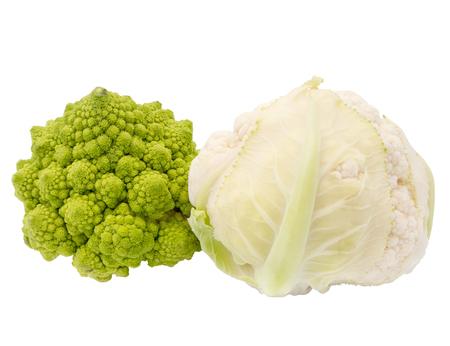 Romanescu (Brassica Oleracea). Roman cauliflower. Romanesco broccoli cabbage and cauliflower isolated on white background