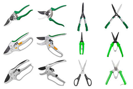 Set professional garden pruner or scissors or secateurs isolated on white background