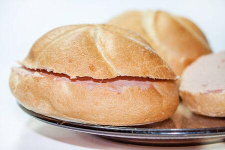 Bread sandwich on plate photo
