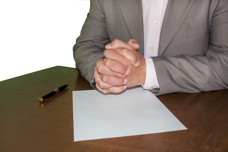 Businessman in front of contract photo