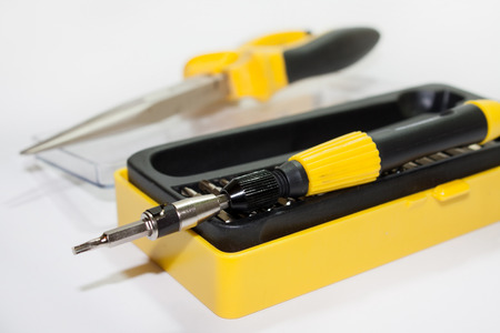Screwdriver set in the box on the white background.