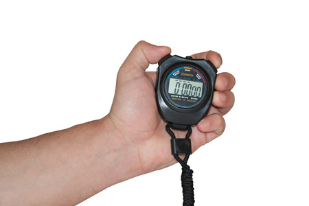 Digital stopwatch in the hand on the white background.