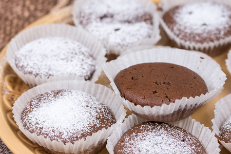 Chocolate cupcake muffin with powdered sugar on the plate.