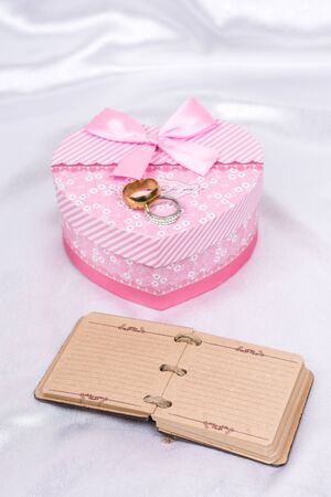 Pink heart shaped gift box wedding ring