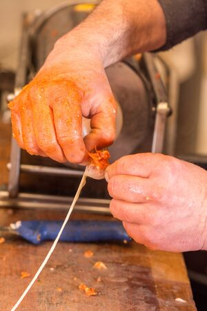 Butcher holding raw pig intestines in the hand Stock Photo