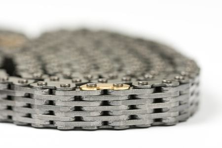 Car engine timing chain belt isolated macro Stock Photo