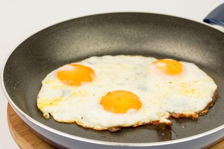 fryingpan: Closeup macro view of fried eggs in teflon frying pan