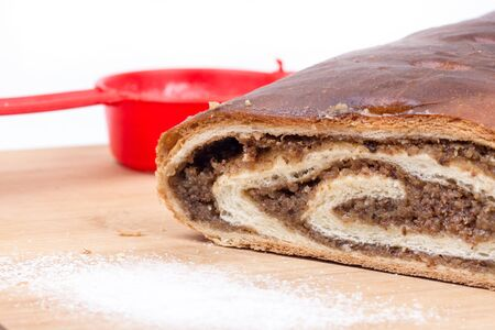Strudel with walnuts on the wooden board Stock Photo