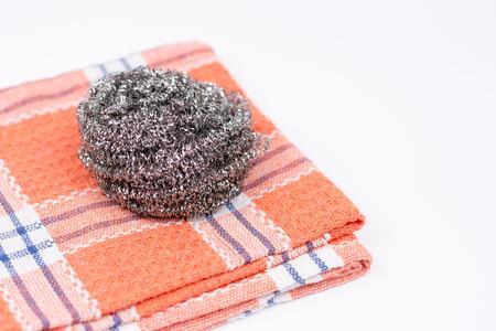 dishtowel: Cleaning dish wire on the kitchen dishtowel