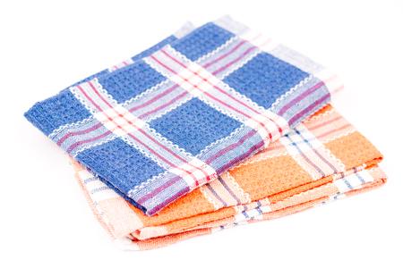 dishtowel: Blue and orange new kitchen dishtowels over white background Stock Photo