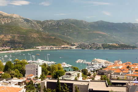 Budva town in Montenegro aerial view old town