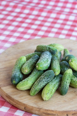 Fresh pickles on the wooden board fresh vegetables Stock Photo