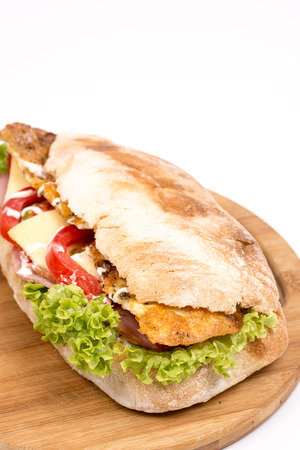 Bread sandwich with lettuce meat cheese tomato