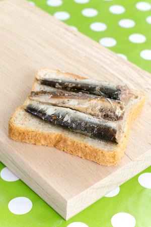 sardine: Marinated sardines on the toast bread macro