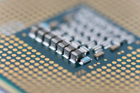 microprocessor: Close up macro selective focus of pc processor computer abstract background. Stock Photo