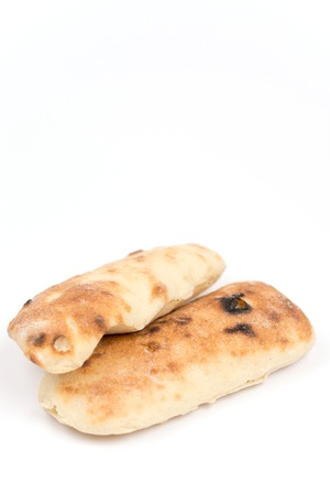 yufka: Balkan somun bread isolated over white background.