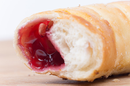 Sweet cherry strawberry rolls buns copy space.