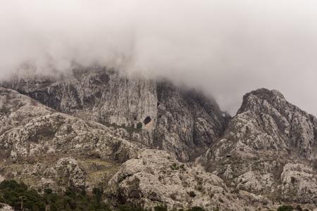 mountain peek: Landscape mountain peek in the fog clouds. Stock Photo
